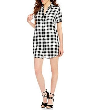 BB Dakota Alexia Button-Down Collar Short Sleeve Shirt Dress