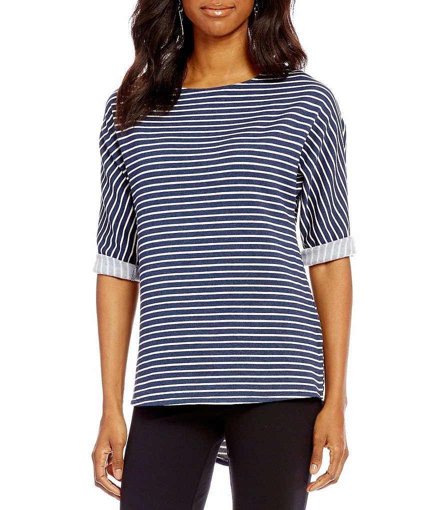 Gibson & Latimer Round Neck Dolman Sleeve Striped Fleeced Knit