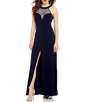 B. Darlin Beaded Illusion Yoke Halter Neck Long Dress
