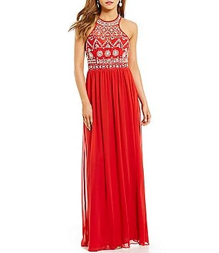B. Darlin Beaded Bodice Strappy Back Long Dress