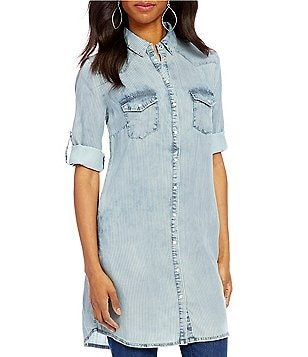 KUT from the Kloth Ruthy Stripe 3/4 Roll-Tab Sleeve Button Front Denim Tunic
