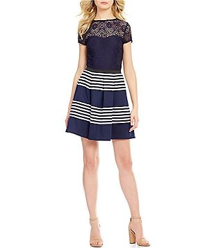 Xtraordinary Lace Bodice Striped Skirt Short-Sleeve Fit-and-Flare Dress