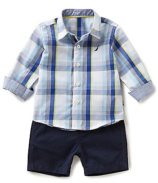Nautica Baby Boys 12-24 Months Woven Long-Sleeve Plaid Shirt & Solid Shorts Set