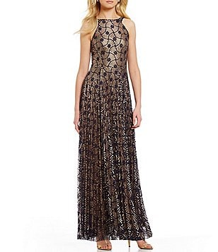 Eva Franco Octavia High Neck Sleeveless Pleated Fan Lace Maxi Dress