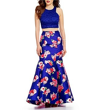 B. Darlin Glitter Lace High Neck Top Floral Print Skirt Two-Piece Trumpet Dress