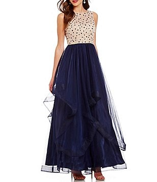 B. Darlin Beaded Illusion Bodice Open-Back Tiered Skirt Ball Gown