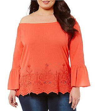Reba Plus Embroidered Off-the-Shoulder Bell-Sleeve Blouse