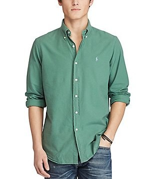 Polo Ralph Lauren Garment-Dyed Long-Sleeve Solid Woven Shirt