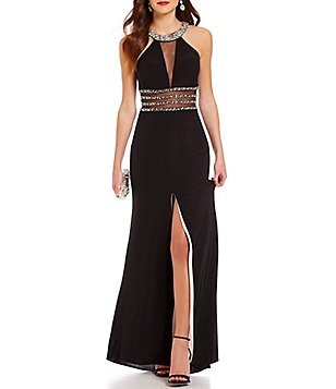 B. Darlin High Neck Illusion Beaded Waist Long Dress