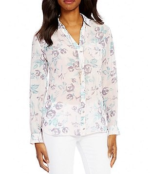 KUT from the Kloth Esperanza Long Sleeve Floral Print Button Front Shirt