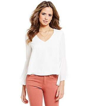 Gianni Bini Capri V-Neck Bell Sleeve Draped Cut-Out Back Solid Blouse