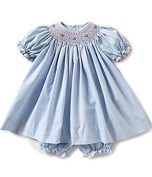 Petit Ami Baby Girls 3-24 Months Smocked Puffed-Sleeve Pleated Chambray Dress