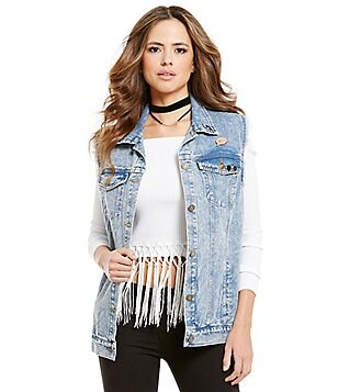 Gianni Bini Kyle Washed Denim Vest with Pins