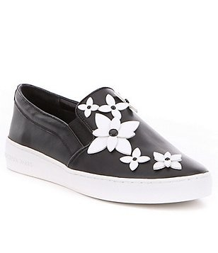 MICHAEL Michael Kors Lola Leather Patent Flower Slip-On Sneakers
