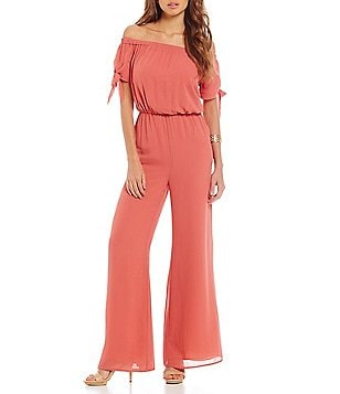 Gianni Bini Fan Fav Lillian Off the Shoulder Tie Sleeve Jumpsuit