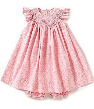 Petit Ami Baby Girls 3-24 Months Printed Smocked Embroidered Flutter-Sleeve Dress