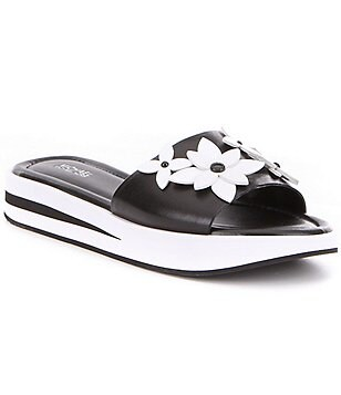 MICHAEL Michael Kors Lola Leather Flower Ornament Slides