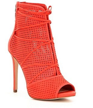Guess Ayanae Perforated Leather Peep-Toe Stiletto Shooties