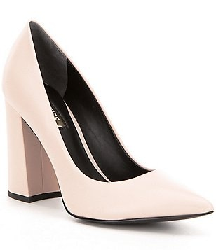 Guess Bocca2 Leather Pointed Toe Block Heel Dress Pumps