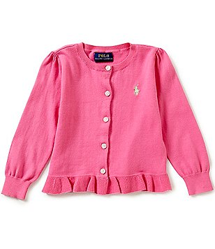 Ralph Lauren Childrenswear Little Girls 2T-6X Ruffled-Hem Cardigan
