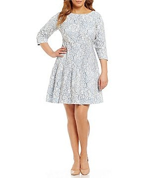 Eliza J Plus 3/4 Sleeve Lace Fit-and-Flare Dress