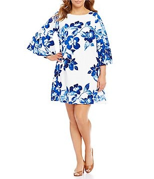 Eliza J Plus Floral-Print Bell-Sleeve Shift Dress