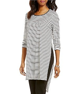 Gibson & Latimer Long Sleeve Striped Knit Tunic with High Side Slits