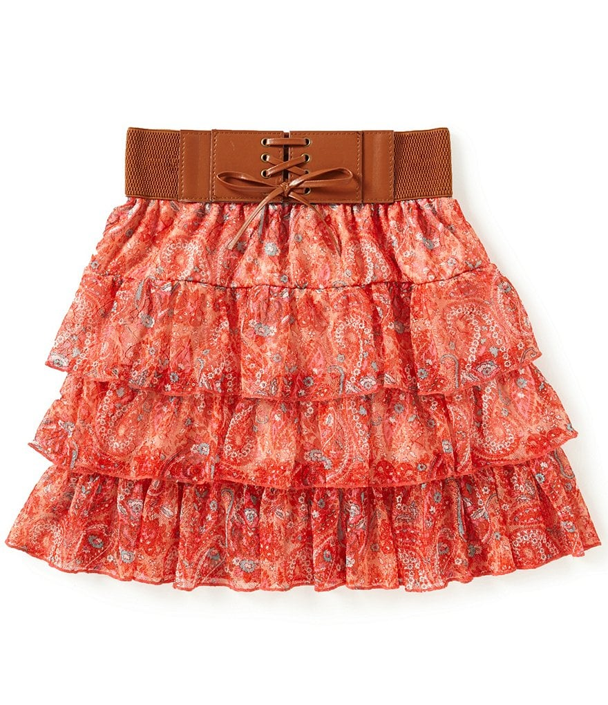 Xtraordinary Big Girls 7-16 Paisley-Print Layered Ruffle Skirt | Dillards
