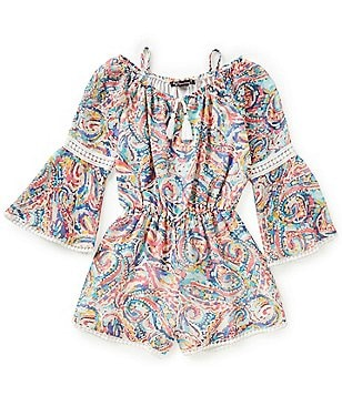Xtraordinary Big Girls 7-16 Off-The-Shoulder Lace-Inset Bell-Sleeve Printed Romper