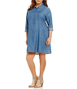 Jessica Simpson Plus Katya Point Collar Denim Dress