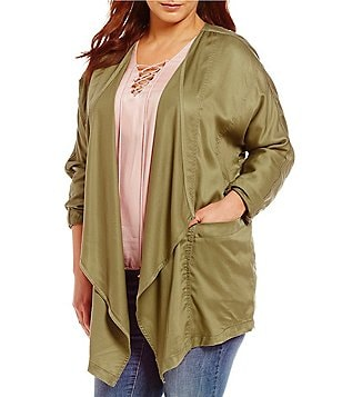 Jessica Simpson Plus Finn Relaxed Drape Front Solid Jacket