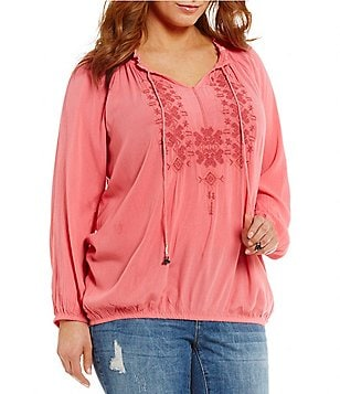 Jessica Simpson Plus Elizabella Blouson Long Sleeve V-Neck Peasant Blouse