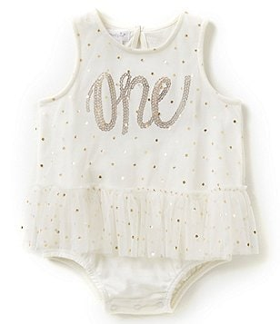 Mud Pie Baby Girls 12-18 Months Birthday One Dotted Tutu Bodysuit