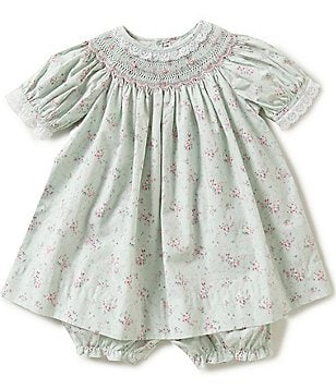 Petit Ami Baby Girls 3-24 Months Floral Smocked Lace-Trim Dress