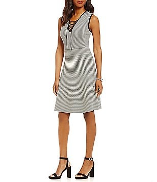 Gibson & Latimer Intarsia Knit Sleeveless Lace-Up Dress