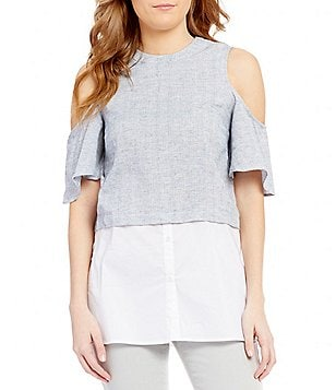 Cremieux Lilly Cold-Shoulder Short Bell Sleeve Blouse