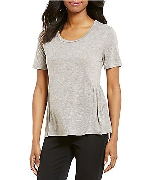 Cremieux Landon Boat Neck Short Sleeve Peplum Knit Jersey Top