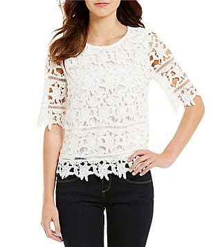 Cremieux Layla Crew Neck Short Sleeve Scalloped Lace Blouse