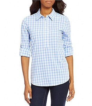 Cremieux Andy Plaid Long Sleeve Henley Blouse