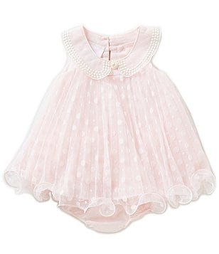 Bonnie Baby Girls Newborn-24 Months Pleated Dotted Mesh Embroidered-Collar Dress