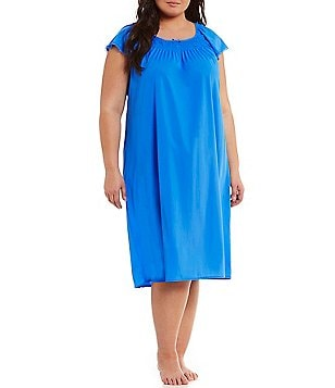 Miss Elaine Plus Embroidered Flutter-Sleeve Nightgown