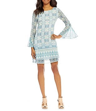 Cremieux Cary Round Neck Bell Sleeve Printed Chiffon Swing Dress