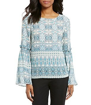 Cremieux Desi Bell Sleeve Printed Blouse