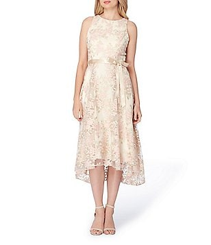 Tahari ASL Petite Embroidered Fit-and-Flare Midi Dress