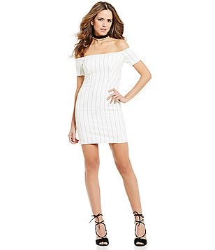 Gianni Bini Gemma Off the Shoulder Stripe Sheath Dress