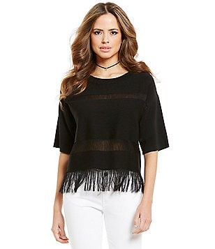 Gianni Bini Malcolm Illusion Short Sleeve Fringe Sweater