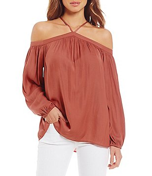 Gianni Bini Colette Fan Fav Halter Neck Cold-Shoulder Blouse