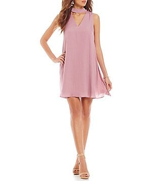 Gianni Bini Olivia Fan Fav Bar Neck Sleeveless Trapeze Dress