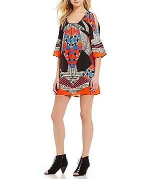 Gibson & Latimer Cold-Shoulder 3/4 Sleeve Printed Shift Dress