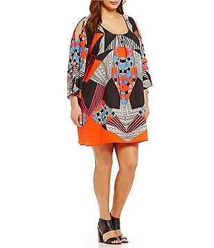 Gibson & Latimer Plus Scoop Neck 3/4 Sleeve Cold-shoulder Printed Shift Dress